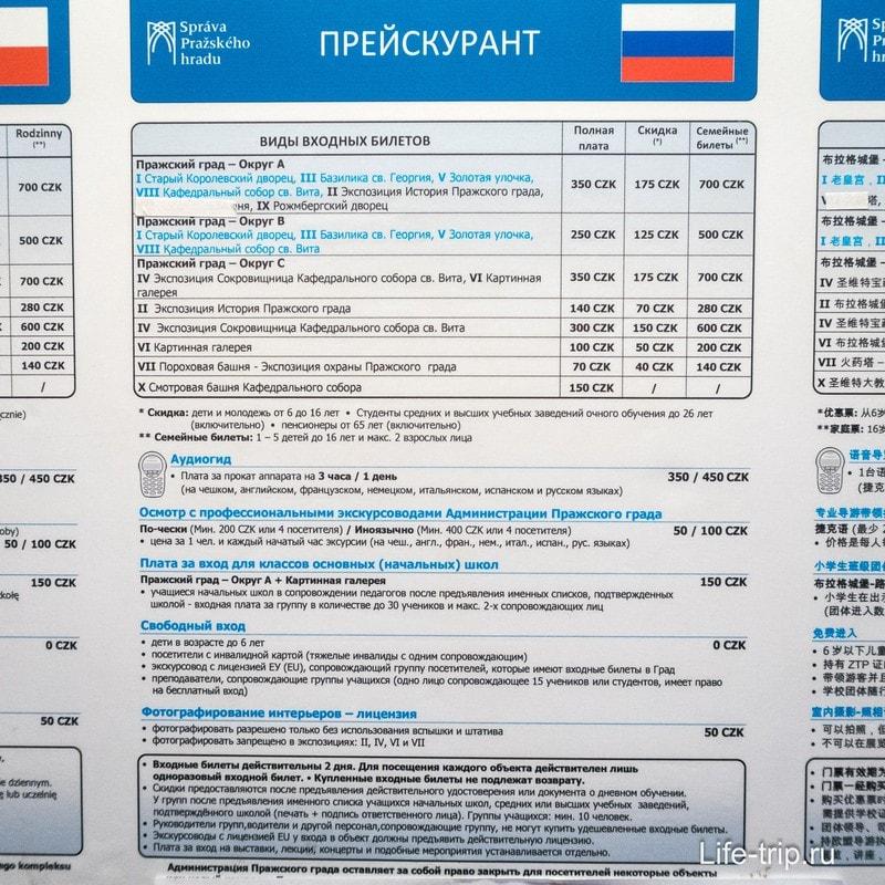 Стоимость билетов в Пражский Град