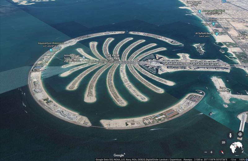 Искусственный остров Palm Jumeirah со спутниковой карты Google