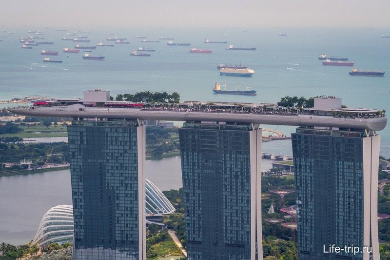 На крыше отеля Marina Bay бассейн с видом