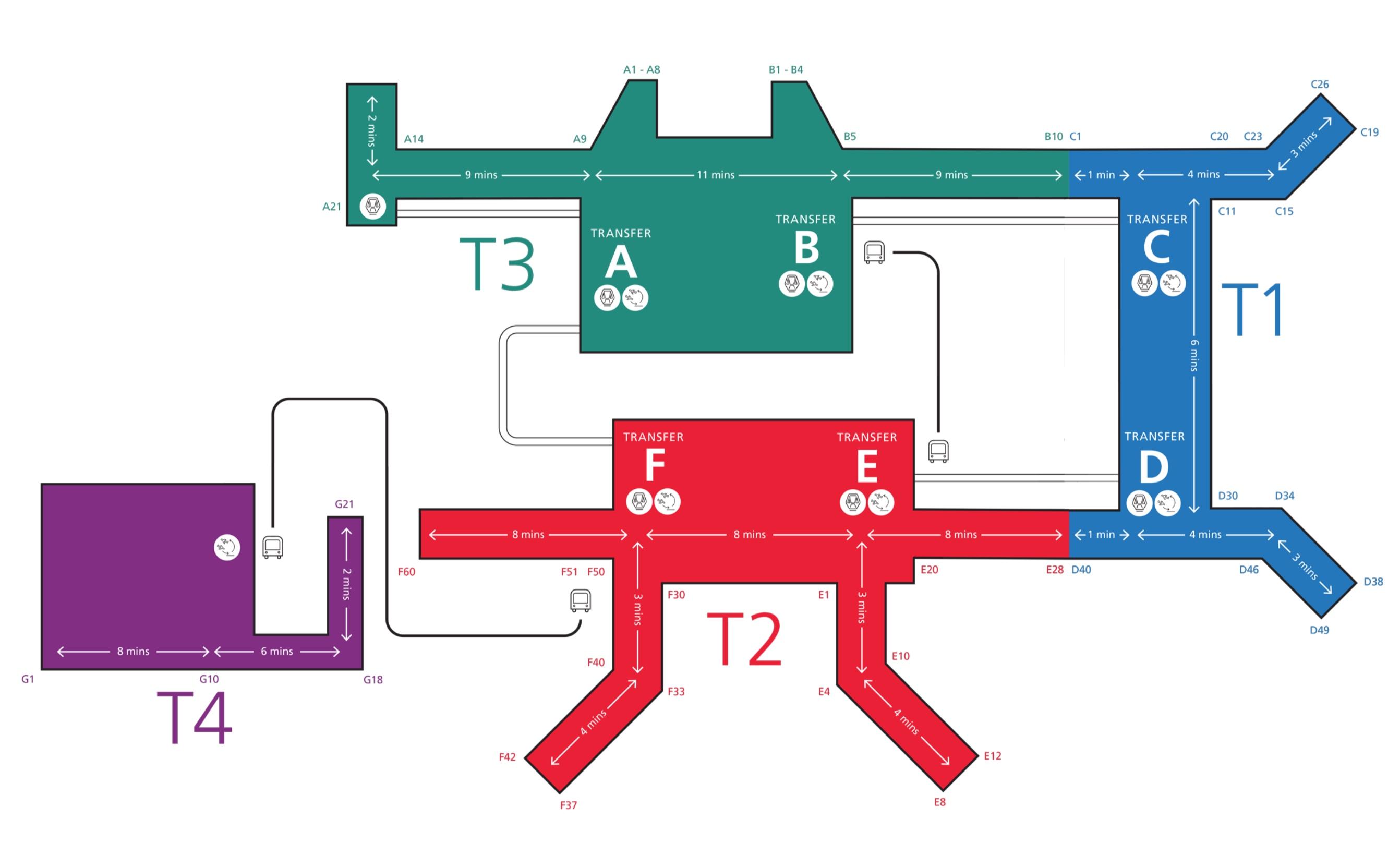 Карта терминалов аэропорта Чанги в Сингапуре
