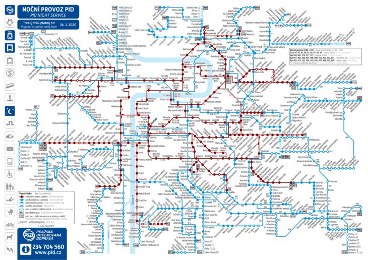 Карта трамваев Праги (ночные маршруты)