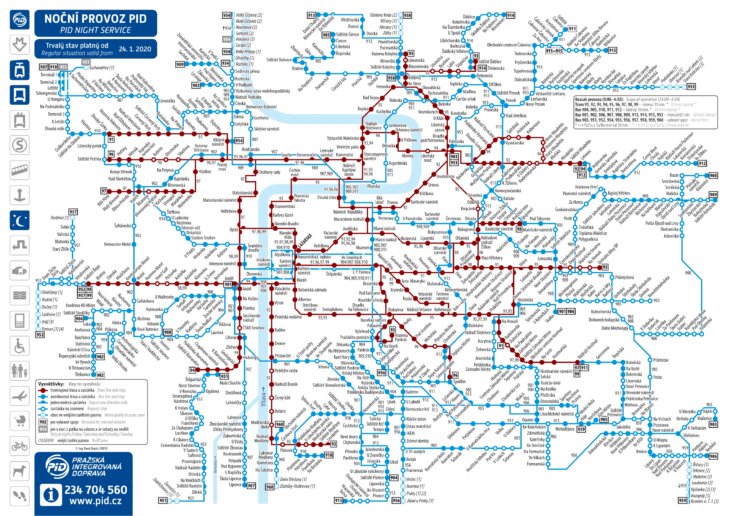Схема маршрутов ночного транспорта Праги