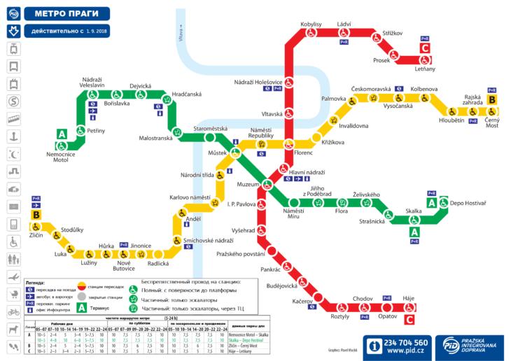 Схема метро Праги на русском языке
