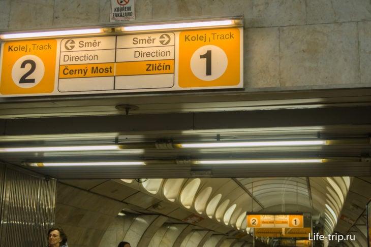 Указатели с номерами платформ и направлений (конечная станция ветки)