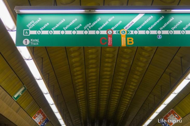 Схема на станции зелёной ветки (А)
