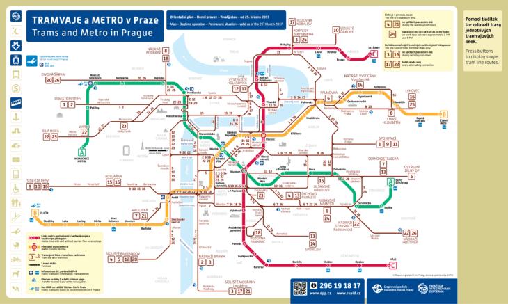 Карта трамваев Праги (дневные маршруты)