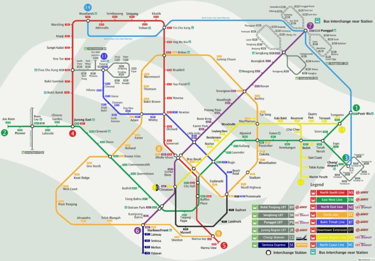 Карта метро в Сингапуре