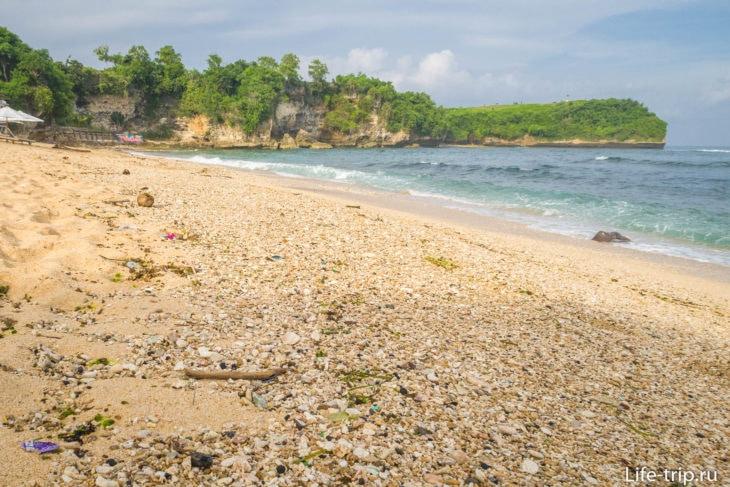 В полосе прибоя много крупных обломков кораллов и ракушек