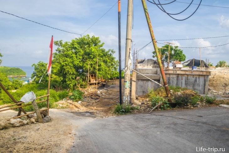 Место съезда с главной дороги в сторону пляжа Баланган