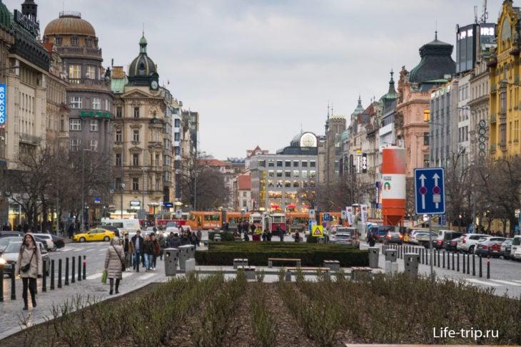 Вацлавская площадь, вид из центра