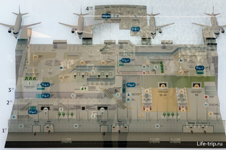 Схема всех этажей аэропорта Симферополя