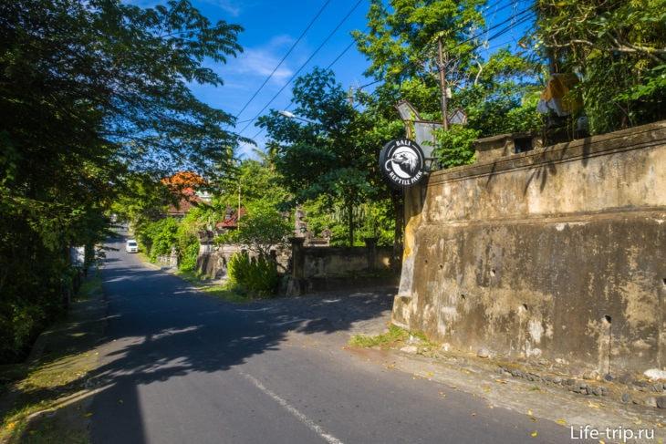 Вид на незаметный съезд к парковке на улице Jl. Bird Park