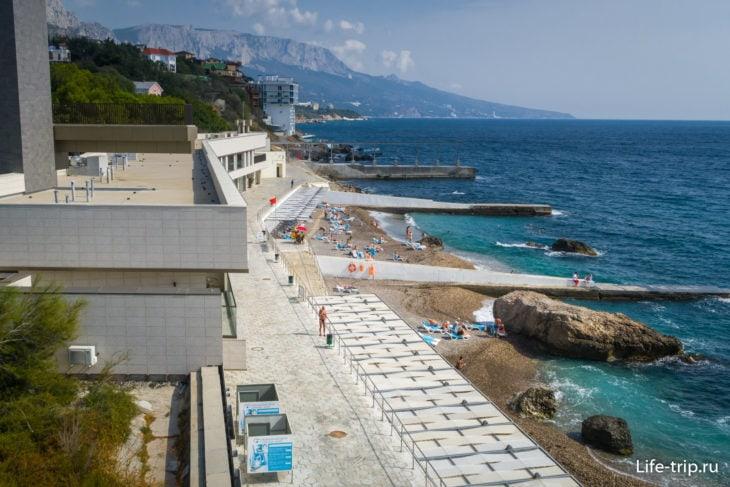 Вид на пляж со смотровой площадки