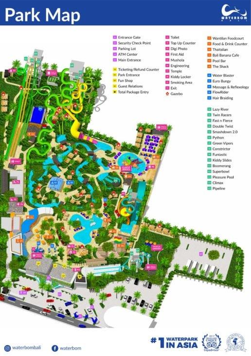 Карта парка с официального сайта Waterbom