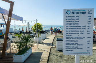 Расценки на прокат и услуги пляжа Ривьера