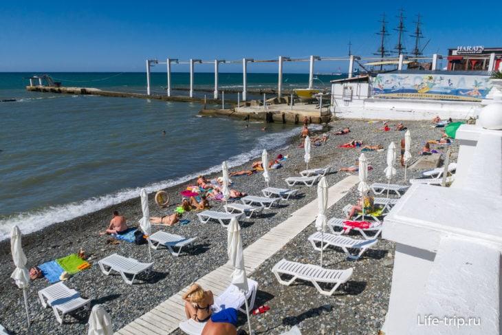 Пляж Солнечный - спокойное место на окраине Сочи