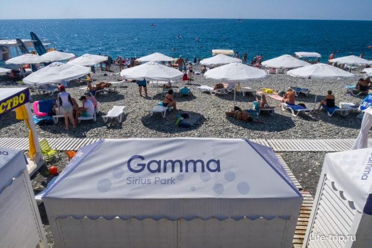 Пляж отеля Гамма Сириус в Сочи