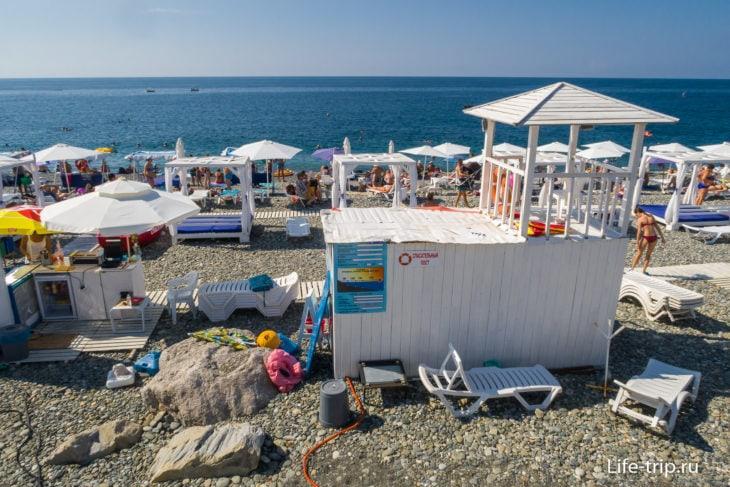 Спорт Инн - узкий пляж с камнями в Адлере
