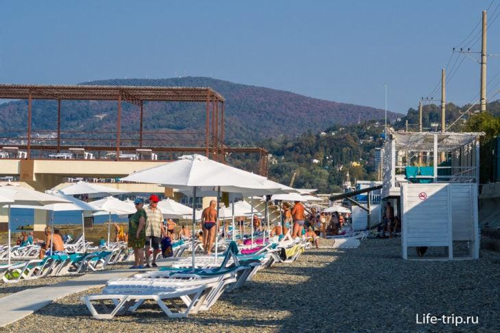 Пляж санатория Знание в Адлере - взгляд из-за забора