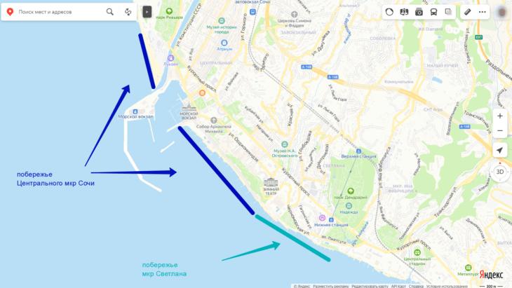 Схема побережья в центре Сочи