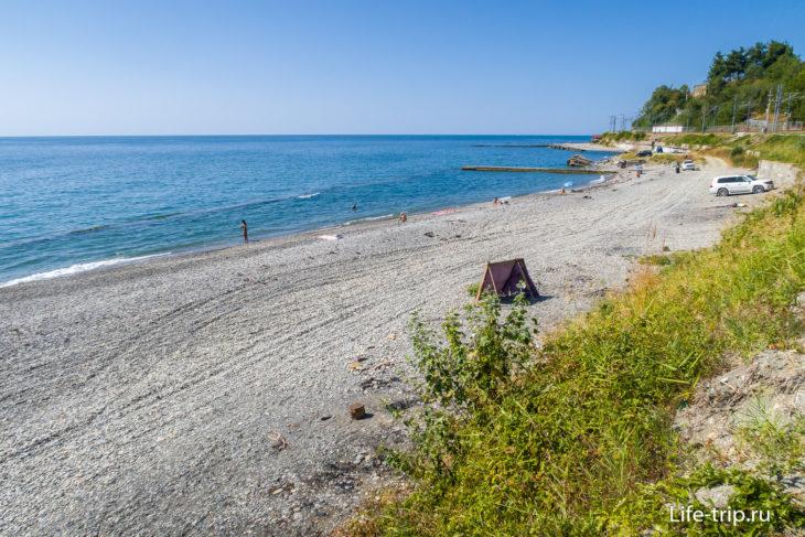 Пляж Восход - кемперский берег в Сочи